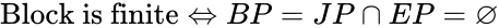 {\displaystyle {\text{Block is finite}}\Leftrightarrow BP=JP\cap EP=\varnothing }