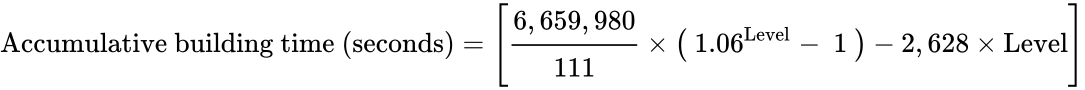 {\displaystyle {{\text{Accumulative building time (seconds)}}=\left\lbrack {\cfrac {6,659,980}{111}}\times \left(\ 1.06^{\text{Level}}-\ 1\ \right)-2,628\times {\text{Level}}\right\rbrack }}