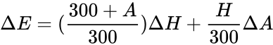 {\displaystyle \Delta E=({\frac {300+A}{300}})\Delta H+{\frac {H}{300}}\Delta A}