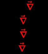 {\displaystyle {\begin{array}{l}{\vec {E}}=-{\color {red}{\vec {\nabla }}}\cdot V\\B={\color {red}{\vec {\nabla }}}\times {\vec {A}}\\Q={\color {red}{\vec {\nabla }}}\;{\boldsymbol {\cdot }}\;{\vec {D}}\\J={\color {red}{\vec {\nabla }}}\times {\vec {H}}\\\end{array}}}