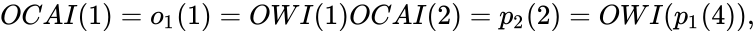 {\displaystyle OCAI(1)=o_{1}(1)=OWI(1)OCAI(2)=p_{2}(2)=OWI(p_{1}(4)),}