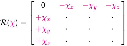 {\displaystyle {\mathcal {R}}({\color {Magenta}{\chi }})={\begin{bmatrix}0&\color {Magenta}{-\chi _{x}}&\color {Magenta}{-\chi _{y}}&\color {Magenta}{-\chi _{z}}\\\color {Magenta}{+\chi _{x}}&\cdot &\cdot &\cdot \\\color {Magenta}{+\chi _{y}}&\cdot &\cdot &\cdot \\\color {Magenta}{+\chi _{z}}&\cdot &\cdot &\cdot \\\end{bmatrix}}}