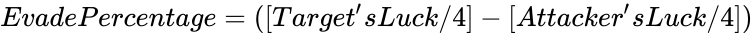 {\displaystyle EvadePercentage=([Target'sLuck/4]-[Attacker'sLuck/4])}