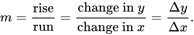 {\displaystyle m={\frac {\text{rise}}{\text{run}}}={\frac {{\text{change in }}y}{{\text{change in }}x}}={\frac {\Delta y}{\Delta x}}.}