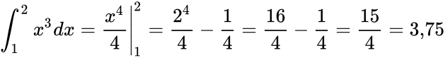 {\displaystyle \int _{1}^{2}x^{3}dx=\left.{\frac {x^{4}}{4}}\right|_{1}^{2}={\frac {2^{4}}{4}}-{\frac {1}{4}}={\frac {16}{4}}-{\frac {1}{4}}={\frac {15}{4}}=3{,}75}