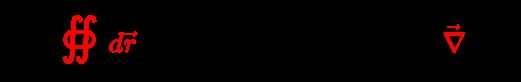 {\displaystyle \forall {\vec {B}}:{\color {red}\oiint d{\vec {r}}}\;{\boldsymbol {\cdot }}\;{\vec {B}}=0\iff \exists \;{\vec {A}}:{\vec {B}}={\color {red}{\vec {\nabla }}}\times {\vec {A}}}