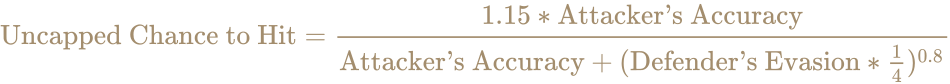 \color [rgb]{0.6392156862745098,0.5529411764705883,0.42745098039215684}{\text{Uncapped Chance to Hit}}={1.15*{\text{Attacker's Accuracy}} \over {\text{Attacker's Accuracy}}+({\text{Defender's Evasion}}*{\frac {1}{4}})^{0.8}}