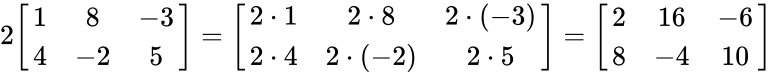 {\displaystyle 2{\begin{bmatrix}1&8&-3\\4&-2&5\end{bmatrix}}={\begin{bmatrix}2\cdot 1&2\cdot 8&2\cdot (-3)\\2\cdot 4&2\cdot (-2)&2\cdot 5\end{bmatrix}}={\begin{bmatrix}2&16&-6\\8&-4&10\end{bmatrix}}}