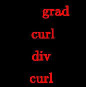 {\displaystyle {\begin{array}{l}{\vec {E}}=-{\color {red}{\operatorname {grad} }}\;V\\B={\color {red}{\operatorname {curl} }}\;{\vec {A}}\\Q={\color {red}{\operatorname {div} }}\;{\vec {D}}\\J={\color {red}{\operatorname {curl} }}\;{\vec {H}}\\\end{array}}}