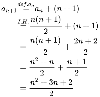 {\displaystyle {\begin{aligned}a_{n+1}&{\overset {def.a_{n}}{=}}a_{n}+(n+1)\\&{\overset {I.H.}{=}}{n(n+1) \over 2}+(n+1)\\&={n(n+1) \over 2}+{2n+2 \over 2}\\&={n^{2}+n \over 2}+{n+1 \over 2}\\&={n^{2}+3n+2 \over 2}\end{aligned}}}