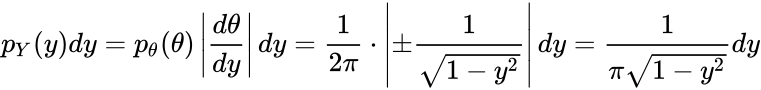 {\displaystyle p_{Y}(y)dy=p_{\theta }(\theta )\left|{\frac {d\theta }{dy}}\right|dy={\frac {1}{2\pi }}\cdot \left|\pm {\frac {1}{\sqrt {1-y^{2}}}}\right|dy={\frac {1}{\pi {\sqrt {1-y^{2}}}}}dy}
