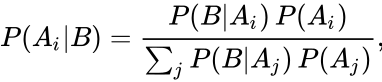 {\displaystyle P(A_{i} B)={\frac {P(B A_{i})\,P(A_{i})}{\sum _{j}P(B A_{j})\,P(A_{j})}},\!}