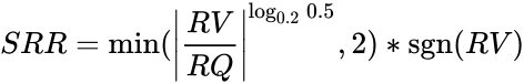 {\displaystyle SRR=\min(\left\vert {RV \over RQ}\right\vert ^{\log _{0.2}0.5},2)*\operatorname {sgn}(RV)}
