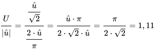 {\displaystyle {\cfrac {U}{\left|{\hat {u}}\right|}}={\cfrac {\cfrac {\hat {u}}{\sqrt {2}}}{\cfrac {2\cdot {\hat {u}}}{\pi }}}={\cfrac {{\hat {u}}\cdot \pi }{2\cdot {\sqrt {2}}\cdot {\hat {u}}}}={\cfrac {\pi }{2\cdot {\sqrt {2}}}}=1,11\;}