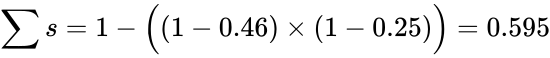 {\displaystyle \sum s=1-{\Big (}(1-0.46)\times (1-0.25){\Big )}=0.595}