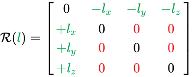{\displaystyle {\mathcal {R}}({\color {Green}{l}})={\begin{bmatrix}0&\color {Green}{-l_{x}}&\color {Green}{-l_{y}}&\color {Green}{-l_{z}}\\\color {Green}{+l_{x}}&0&\color {Red}{0}&\color {Red}{0}\\\color {Green}{+l_{y}}&\color {Red}{0}&0&\color {Red}{0}\\\color {Green}{+l_{z}}&\color {Red}{0}&\color {Red}{0}&0\\\end{bmatrix}}}