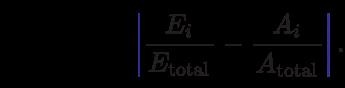 {\displaystyle H={\frac {1}{2}}\sum _{i=1}^{N}\color {Blue}\left \color {Black}{\frac {{E}_{i}}{{E}_{\text{total}}}}-{\frac {{A}_{i}}{{A}_{\text{total}}}}\color {Blue}\right \color {Black}.}