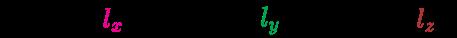 {\displaystyle {\mathcal {R}}(l)={\begin{bmatrix}\color {Magenta}{l_{x}}\end{bmatrix}},\;{\mathcal {R}}(l)={\begin{bmatrix}\color {Green}{l_{y}}\end{bmatrix}},\;{\mathcal {R}}(l)={\begin{bmatrix}\color {Maroon}{l_{z}}\end{bmatrix}}\;}