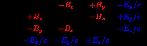 {\displaystyle {\vec {\mathbf {\mathcal {B}}}}={\begin{bmatrix}0&\color {red}{-B_{z}}&\color {red}{+B_{y}}&\color {blue}{-E_{x}/c}\\\color {red}{+B_{z}}&0&\color {Red}{-B_{x}}&\color {blue}{+E_{y}/c}\\\color {red}{-B_{y}}&\color {red}{+B_{x}}&0&\color {blue}{-E_{z}/c}\\\color {blue}{+E_{x}/c}&\color {blue}{-E_{y}/c}&\color {blue}{+E_{z}/c}&0\\\end{bmatrix}}}