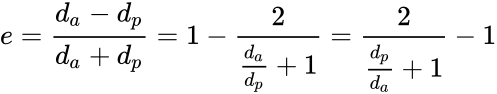 {\displaystyle e={{d_{a}-d_{p}} \over {d_{a}+d_{p}}}=1-{\frac {2}{{\frac {d_{a}}{d_{p}}}+1}}={\frac {2}{{\frac {d_{p}}{d_{a}}}+1}}-1}