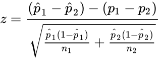 {\displaystyle z={\frac {({\hat {p}}_{1}-{\hat {p}}_{2})-(p_{1}-p_{2})}{\sqrt {{\frac {{\hat {p}}_{1}(1-{\hat {p}}_{1})}{n_{1}}}+{\frac {{\hat {p}}_{2}(1-{\hat {p}}_{2})}{n_{2}}}}}}}