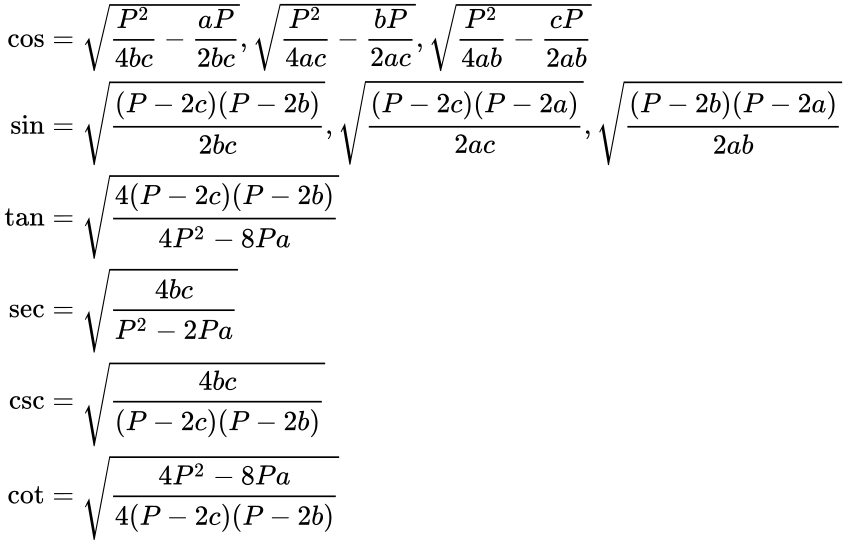 {\displaystyle {\begin{aligned}\cos &={\sqrt {{\frac {P^{2}}{4bc}}-{\frac {aP}{2bc}}}},{\sqrt {{\frac {P^{2}}{4ac}}-{\frac {bP}{2ac}}}},{\sqrt {{\frac {P^{2}}{4ab}}-{\frac {cP}{2ab}}}}\\\sin &={\sqrt {\frac {(P-2c)(P-2b)}{2bc}}},{\sqrt {\frac {(P-2c)(P-2a)}{2ac}}},{\sqrt {\frac {(P-2b)(P-2a)}{2ab}}}\\\tan &={\sqrt {\frac {4(P-2c)(P-2b)}{4P^{2}-8Pa}}}\\\sec &={\sqrt {\frac {4bc}{P^{2}-2Pa}}}\\\csc &={\sqrt {\frac {4bc}{(P-2c)(P-2b)}}}\\\cot &={\sqrt {\frac {4P^{2}-8Pa}{4(P-2c)(P-2b)}}}\end{aligned}}}