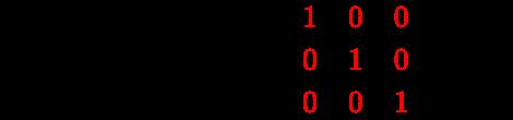 {\displaystyle {\vec {a}}\;{\boldsymbol {\cdot }}\;{\vec {b}}={\begin{bmatrix}a_{x}&a_{x}&a_{z}\end{bmatrix}}{\begin{bmatrix}\color {red}1&\color {red}0&\color {red}0\\\color {red}0&\color {red}1&\color {red}0\\\color {red}0&\color {red}0&\color {red}1\\\end{bmatrix}}{\begin{bmatrix}b_{x}\\b_{x}\\b_{z}\end{bmatrix}}}