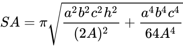 {\displaystyle SA=\pi {\sqrt {{\frac {a^{2}b^{2}c^{2}h^{2}}{(2A)^{2}}}+{\frac {a^{4}b^{4}c^{4}}{64A^{4}}}}}}