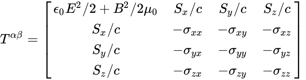 {\displaystyle T^{\alpha \beta }={\begin{bmatrix}\epsilon _{0}E^{2}/2+B^{2}/2\mu _{0}&S_{x}/c&S_{y}/c&S_{z}/c\\S_{x}/c&-\sigma _{xx}&-\sigma _{xy}&-\sigma _{xz}\\S_{y}/c&-\sigma _{yx}&-\sigma _{yy}&-\sigma _{yz}\\S_{z}/c&-\sigma _{zx}&-\sigma _{zy}&-\sigma _{zz}\end{bmatrix}}\,}