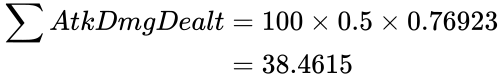 {\displaystyle {\begin{aligned}\sum {AtkDmgDealt}&=100\times 0.5\times 0.76923\\&=38.4615\end{aligned}}}