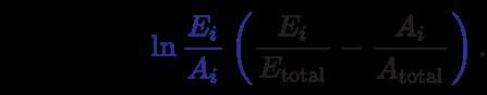 {\displaystyle T_{s}={\frac {1}{2}}\sum _{i=1}^{N}\color {Blue}\ln {\frac {{E}_{i}}{{A}_{i}}}\left(\color {Black}{\frac {{E}_{i}}{{E}_{\text{total}}}}-{\frac {{A}_{i}}{{A}_{\text{total}}}}\color {Blue}\right)\color {Black}.}