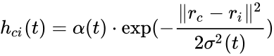 {\displaystyle h_{ci}(t)=\alpha (t)\cdot \exp(-{\frac {\ r_{c}-r_{i}\ ^{2}}{2\sigma ^{2}(t)}})}