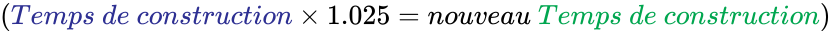 {\displaystyle \left({{\color {Blue}Temps\ de\ construction}\times 1.025=nouveau\ {\color {Green}Temps\ de\ construction}}\right)}
