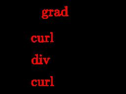 {\displaystyle {\begin{array}{l}{\vec {E}}=-{\color {red}{\operatorname {grad} }}\;V-{\frac {\partial }{\partial t}}{\vec {A}}\\{\vec {B}}={\color {red}{\operatorname {curl} }}\;{\vec {A}}\\Q={\color {red}{\operatorname {div} }}\;{\vec {D}}\\{\vec {J}}={\color {red}{\operatorname {curl} }}\;{\vec {H}}-{\frac {\partial }{\partial t}}{\vec {D}}\\\end{array}}}