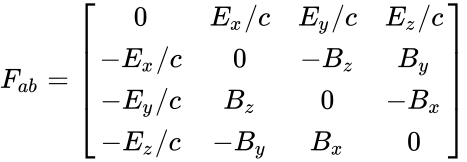 {\displaystyle F_{ab}={\begin{bmatrix}0&E_{x}/c&E_{y}/c&E_{z}/c\\-E_{x}/c&0&-B_{z}&B_{y}\\-E_{y}/c&B_{z}&0&-B_{x}\\-E_{z}/c&-B_{y}&B_{x}&0\end{bmatrix}}}