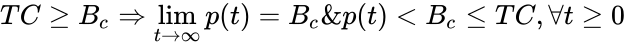 {\displaystyle {TC\geq B_{c}\Rightarrow \lim _{t\to \infty }p(t)=B_{c}\And p(t)<B_{c}\leq TC,\forall t\geq 0}}