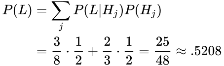 {\displaystyle {\begin{aligned}P(L)&=\sum _{j}P(L|H_{j})P(H_{j})\\&={\frac {3}{8}}\cdot {\frac {1}{2}}+{\frac {2}{3}}\cdot {\frac {1}{2}}={\frac {25}{48}}\approx .5208\end{aligned}}}