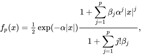 {\displaystyle f_{p}(x)={\tfrac {1}{2}}\exp(-\alpha |x|){\frac {\displaystyle 1+\sum _{j=1}^{p}\beta _{j}\alpha ^{j}|x|^{j}}{\displaystyle 1+\sum _{j=1}^{p}j!\beta _{j}}},}