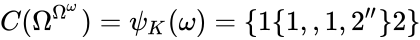 {\displaystyle C(\Omega ^{\Omega ^{\omega }})=\psi _{K}(\omega )=\{1\{1,,1,2''\}2\}}