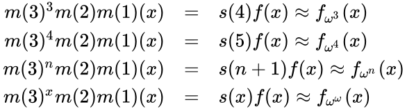 {\displaystyle {\begin{array}{rl}m(3)^{3}m(2)m(1)(x)&=&s(4)f(x)\approx f_{\omega ^{3}}(x)\\m(3)^{4}m(2)m(1)(x)&=&s(5)f(x)\approx f_{\omega ^{4}}(x)\\m(3)^{n}m(2)m(1)(x)&=&s(n+1)f(x)\approx f_{\omega ^{n}}(x)\\m(3)^{x}m(2)m(1)(x)&=&s(x)f(x)\approx f_{\omega ^{\omega }}(x)\\\end{array}}}