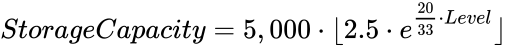 {\displaystyle \displaystyle StorageCapacity=5,000\cdot \lfloor 2.5\cdot e^{{\frac {20}{33}}\cdot Level}\rfloor }