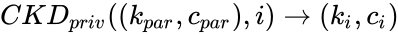 {\displaystyle CKD_{priv}((k_{par},c_{par}),i)\to (k_{i},c_{i})}