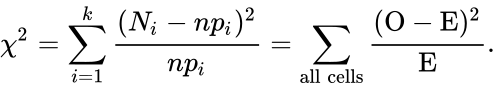 {\displaystyle \chi ^{2}=\sum _{i=1}^{k}{\frac {(N_{i}-np_{i})^{2}}{np_{i}}}=\sum _{\mathrm {all\ cells} }^{}{\frac {(\mathrm {O} -\mathrm {E} )^{2}}{\mathrm {E} }}.}