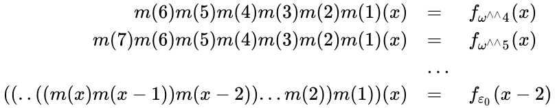 {\displaystyle {\begin{array}{rl}m(6)m(5)m(4)m(3)m(2)m(1)(x)&=&f_{\omega ^{{\wedge }{\wedge }}4}(x)\\m(7)m(6)m(5)m(4)m(3)m(2)m(1)(x)&=&f_{\omega ^{{\wedge }{\wedge }}5}(x)\\&\ldots &\\((..((m(x)m(x-1))m(x-2))...m(2))m(1))(x)&=&f_{\varepsilon _{0}}(x-2)\end{array}}}