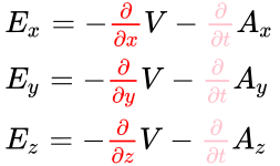 {\displaystyle {\begin{array}{l}E_{x}=-{\color {red}{\frac {\partial }{\partial x}}}V-{\color {pink}{\frac {\partial }{\partial t}}}A_{x}\\E_{y}=-{\color {red}{\frac {\partial }{\partial y}}}V-{\color {pink}{\frac {\partial }{\partial t}}}A_{y}\\E_{z}=-{\color {red}{\frac {\partial }{\partial z}}}V-{\color {pink}{\frac {\partial }{\partial t}}}A_{z}\end{array}}}