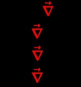 {\displaystyle {\begin{array}{l}{\vec {E}}=-{\color {red}{\vec {\nabla }}}\;\cdot V\\{\vec {B}}={\color {red}{\vec {\nabla }}}\;\times {\vec {A}}\\Q={\color {red}{\vec {\nabla }}}\;{\boldsymbol {\cdot }}\;{\vec {D}}\\{\vec {J}}={\color {red}{\vec {\nabla }}}\;\times {\vec {H}}\\\end{array}}}
