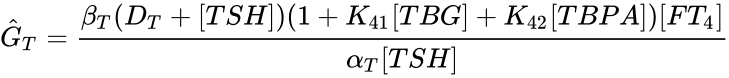 {\displaystyle {\hat {G}}_{T}={{\beta _{T}(D_{T}+[TSH])(1+K_{41}[TBG]+K_{42}[TBPA])[FT_{4}]} \over {\alpha _{T}[TSH]}}}