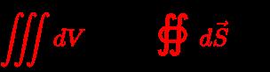 {\displaystyle {\color {red}\iiint dV}\cdot Q={\color {red}{\oiint d{\vec {S}}}}\;{\boldsymbol {\cdot }}\;{\vec {D}}}