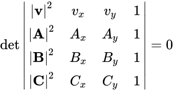 {\displaystyle \det {\begin{vmatrix}|\mathbf {v} |^{2}&v_{x}&v_{y}&1\\|\mathbf {A} |^{2}&A_{x}&A_{y}&1\\|\mathbf {B} |^{2}&B_{x}&B_{y}&1\\|\mathbf {C} |^{2}&C_{x}&C_{y}&1\end{vmatrix}}=0}
