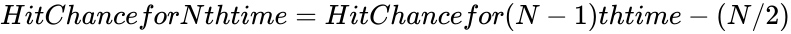 {\displaystyle HitChanceforNthtime=HitChancefor(N-1)thtime-(N/2)}